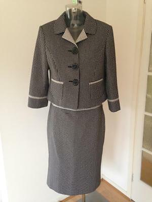 Next Black and White Tailored Skirt Suit With Jacket Size 14