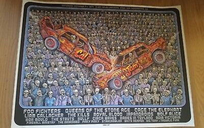 Foo Fighters Cal Jam Poster limited edition Print lithograph 2017 signed by EMEK