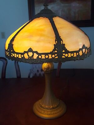 Antique Leaded Slag Stained Glass Handel Tiffany Era Lamp Arts and Craft Nouveau