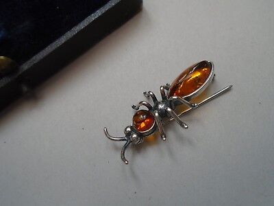 vintage 925 silver & amber insect brooch & box   unusual silver ant brooch  LOOK