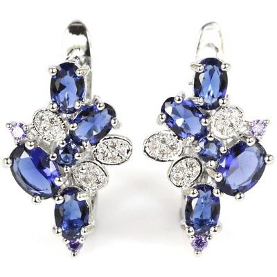 2017 Hot Style Tanzanite, White CZ Woman's Wedding Silver Earrings