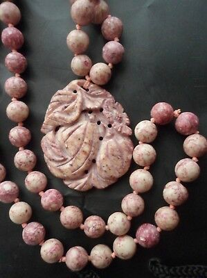 Vintage Chinese Pink Carved Soapstone Necklace Large Lucky Gourd Pendant