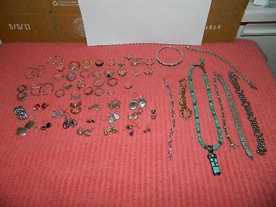 Sterling Silver Earring, Ring, Necklace, Lot Not Scrap All Wearable 313 Grams