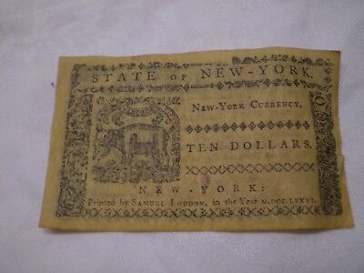 Colonial Currency State of New York Ten Spanish Milled Dollars 1776