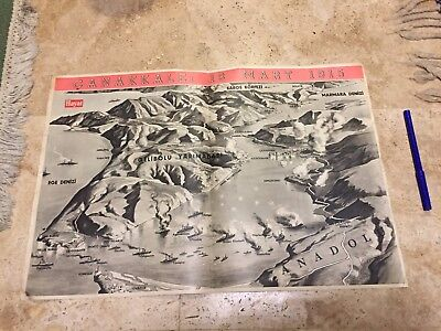 WWII DARDANELLES CAMPAIGN ART PRINT BIG SIZE POSTER war areas 1950s print WOW !