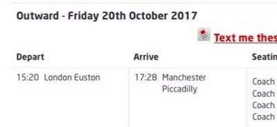 London Euston to Manchester 2x adults 1x child 20/10/17 15:20