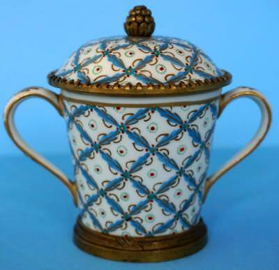 Antique Sevres French Porcelain Twin Handled Covered Cup and Saucer
