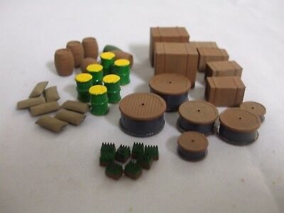 OO Gauge barrels, crates, wagon load, platform items