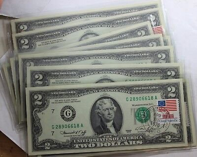 10 CONSECUTIVE 1976 $2 Two Dollar Bill First Day of Issue UNC