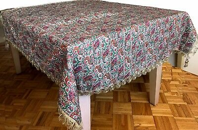 Antique White Termeh with  Red  and Green Paisley from Kashmir Handwoven Silver
