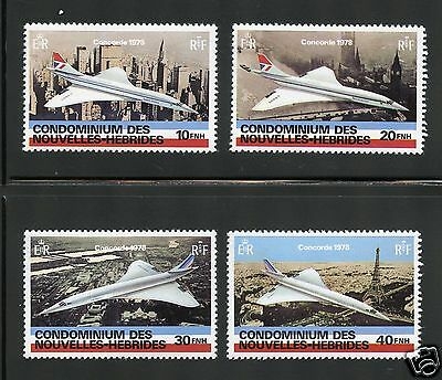 New Hebrides (French) Complete MNH Set #274-277 British Airways Concorde Stamps