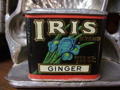 Vintage Iris Brand Ginger Spice Tin~1 Oz~Haas, Baruch & Co~Los Angeles, Calif~