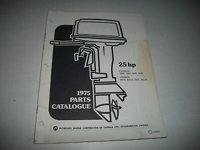 1975 Evinrude & Johnson 25 Hp Outboard Engine Illustrated  Parts Catalog