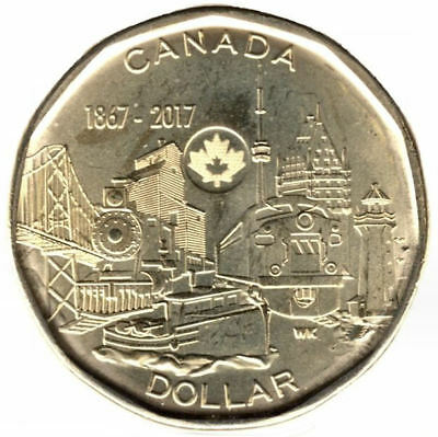 Canada  Connecting a Nation  2017 (loonie) 150e   $1 dollar coin UNC from roll
