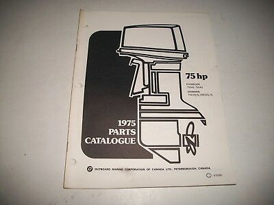 1975 Evinrude & Johnson 75 Hp Outboard Engine Illustrated  Parts Catalog
