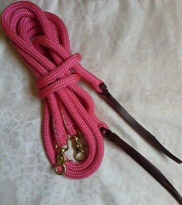 7ft Rope Split Reins in Pink - by Natural Equipment - Horsemanship - Western