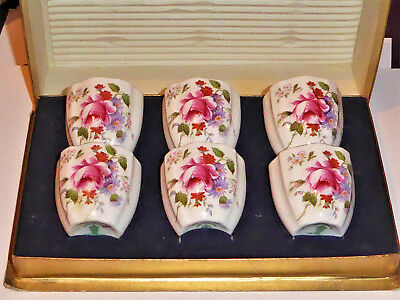 Royal Crown Derby Set of Six 6 Egg Cups 'Derby Posies' Boxed~2 Damaged-See Photo