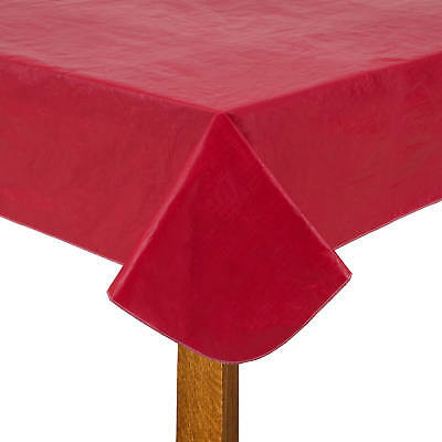 "XL 54"" x 90"" Heavy Duty Plastic Red Table Cloth PEVA Christmas Party Easy Clean"