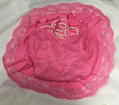VTG VANITY FAIR FULL SLIP PRETTY PINK BUTTERY TRICOT NYLON LACY 42 to 46 1X, 2X