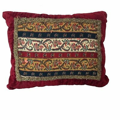 Handwoven antique Termeh cushion on vintage velvet with Silver Embroidery Pillow