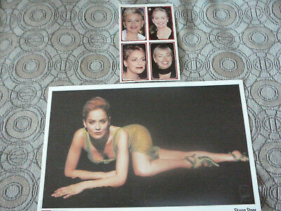 SHARON STONE PIN UP POSTER PHOTO AFFICHE 7 x 11 + 4 CARDS CLIPPING 1998