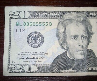 2003 Fancy low serial number Liars poker 20 dollar bill ML00505555D one day only