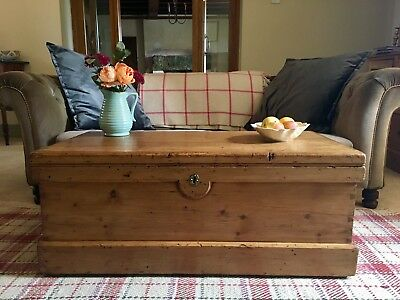 Antique PINE Blanket CHEST, Old Wooden TRUNK, Coffee TABLE, Vintage Storage BOX