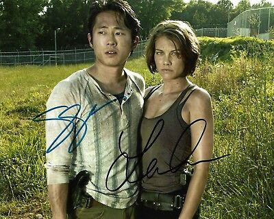 "STEVEN YEUN & LAUREN COHAN ""Walking Dead"" Autographed 8 x 10 Signed Photo COA"