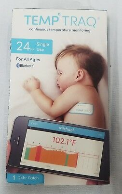 TempTraq Hands Free Temperature Monitoring Single Use 24hr Patch Exp 06/2018