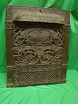 Antique 1800's Cast Iron Gas Fireplace Insert Ornate Unique Design Hg