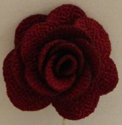 Silver Stemmed Lapel Pin - Red