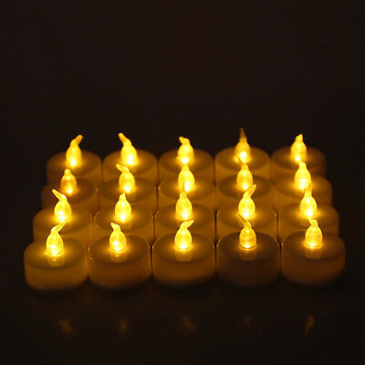 20 Flameless LED Candle Flickering Tea Light Battery Wedding Home Battery Warm