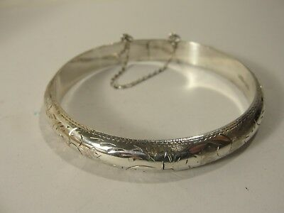 Genuine .925 Sterling Silver Etched Bangle Bracelet Safety Chain 10.4 grams