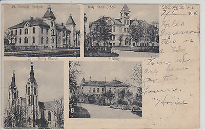 Sheboygan, Wi. Multi Views Antique B&w Postcard Pm 1906