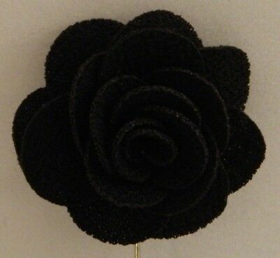 Silver Stemmed Lapel Pin - Black