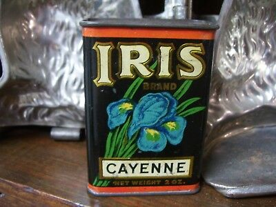 Vintage Iris Brand Cayenne Spice Tin~2 Oz~Haas, Baruch & Co~Los Angeles, Calif~