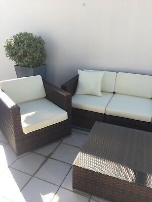 Used Wicker Chocolate Brown Outdoor Lounge