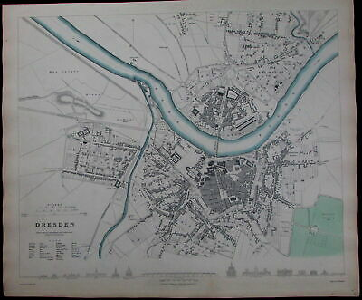 "Dresden Germany Elbe River churches markets ""shooting house"" c.1840 old SDUK map"