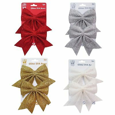 Glitter Sequins Bows Christmas Tree Decoration Ornament Red Silver Gold White