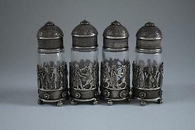 Two Pairs of Persian Silver Salt&Pepper Shakers.