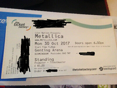 Metallica Ticket (standing) Birmingham Monday 30th October (In Hand)