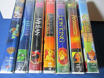 Disney Collection on VHS 7 Sealed Movies. The Lion King..Cinderella 2..Mulan..
