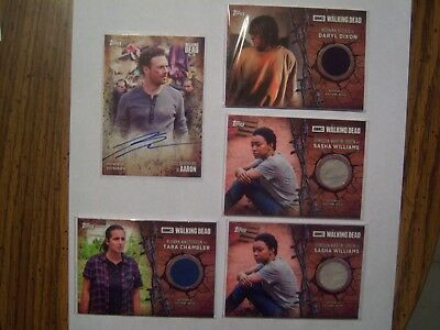 2017 Topps Walking Dead Season 7 Lot 5 Inc. Aaron Auto, Daryl Dixon Jacket Relic