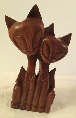 """Carved Wood Dbl Cat Statue Figurine Big Eyes 9.5"""" Mid Century 1960s Philippines"""