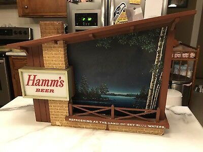 Vintage Hamm's Beer Sign Starry Skies Motion  Light Up  WORKS!!  FREE SHIPPING!!