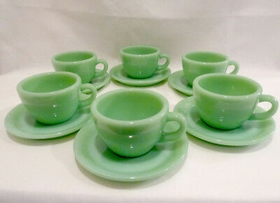 Fire King Jadeite Jadite Restaurant Heavy Cup Saucer Vintage 1950s 6 set MINT