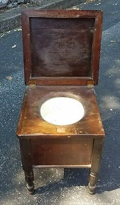 Antique Wooden Chamber Pot Chair Vtg