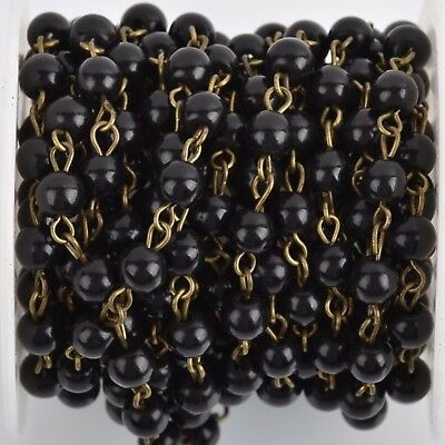 3ft BLACK Howlite Rosary Bead Chain, bronze, 6mm round stone fch0761a