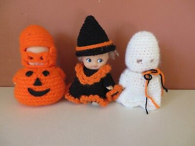 Lot of 3 KEWPIE Dolls Rubber Made in China Halloween Knitted Outfits