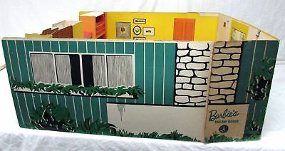 Vintage 1962 Barbie Dream House Cardboard Doll House w/ Furniture & Accessories